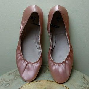 H&M Satin pink flats - size 7